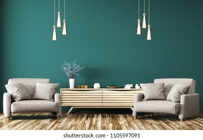 Modern interior of living room with wooden dresser and two gray armchairs 3d rendering