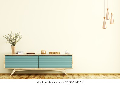 Modern interior of living room with wooden sideboard and copper lamps 3d rendering