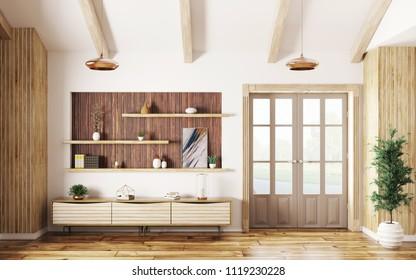 Modern interior of living room with wooden sideboard and door 3d rendering