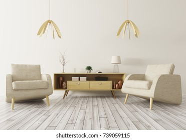 Modern interior of living room with wooden cabinet and two armchairs 3d rendering