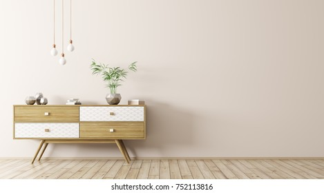 Modern interior of living room with wooden sideboard and light bulbs over beige wall 3d rendering