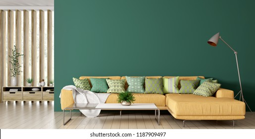 Modern interior of living room with yellow corner sofa over green wall and floor lamp 3d rendering