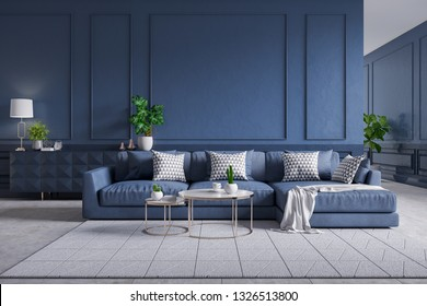 Modern  interior of living room,blue sofa with cofee table on carpet tiles and dark blue wall,3d rendering