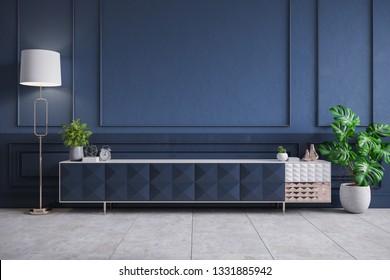 Modern interior of living room,blue Tv cabinet on dark blue wall,3d rendering