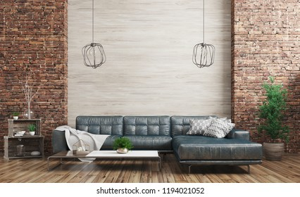 Modern interior of loft apartment, living room with blue shabby leather sofa over wooden and brick wall 3d rendering