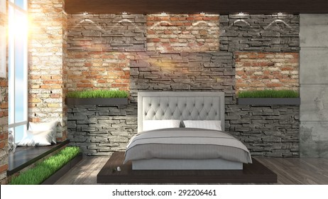 Modern interior  in the Loft style 3D rendering