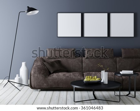 Minimal modern interior couch leere wand wandposter u poster holl