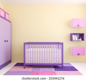 Modern interior of nursery with crib near yellow wall. Frontal view. 3d render.