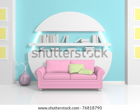 Modern Interior With Pink Sofa And White Bookshelf