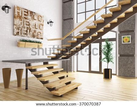 Modern interior composition of blank frame d render image