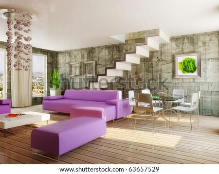 Living Room Violet Color modern interior room violet color stock illustration 63657529