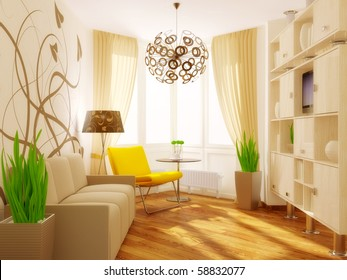 modern interior room with yellow armchair and pattern on the wall