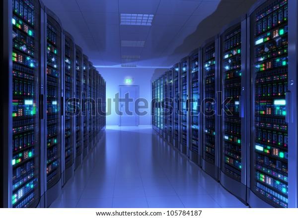 Modern interior of server room in datacenter