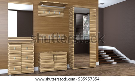 Modern interior small apartment hallway d stockillustration