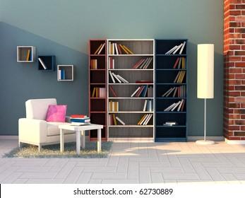 Modern Interior of a Study room