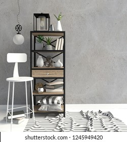 Modern interior in the style scandinavian, a place for storage. 3D illustration. Wall mock up