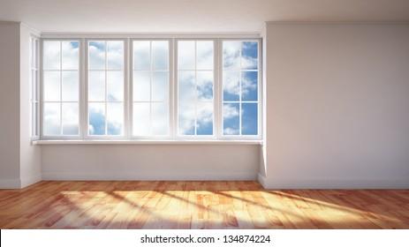 Modern interior- sunlit empty room