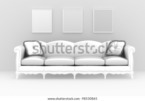 Magnificent Modern Interior White Sofa Pillows Over Stock Illustration Squirreltailoven Fun Painted Chair Ideas Images Squirreltailovenorg