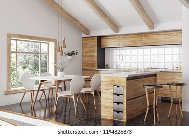 Modern interior of wooden kitchen with island, yellow and white table and chairs 3d rendering