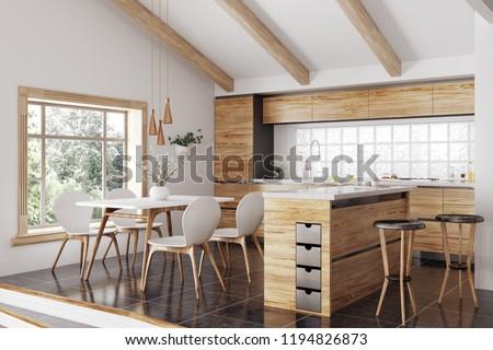 Modern interior wooden kitchen island yellow stock illustration
