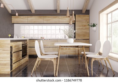 Modern interior of wooden kitchen with window, yellow and white table and chairs 3d rendering