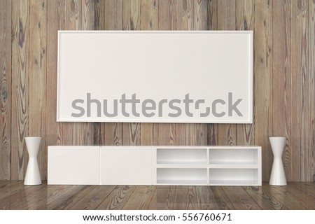 Modern interior wooden room white picture stock illustration