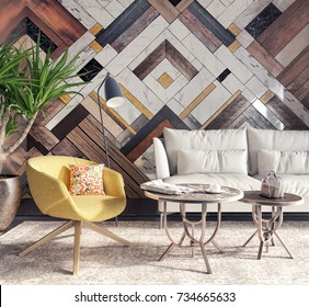 Modern interior with yellow armchair in front of a accent wall 3D Rendering, 3D Illustration