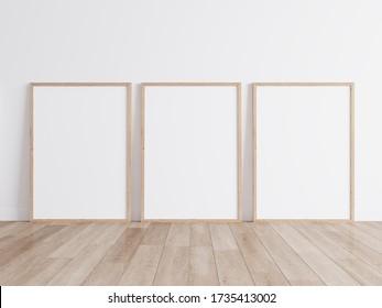 Modern isolated wooden frame on white background, 3d render, 3d illustration