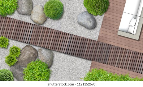 modern japanese garden architecture with terrace in top view - 2D composite illustration