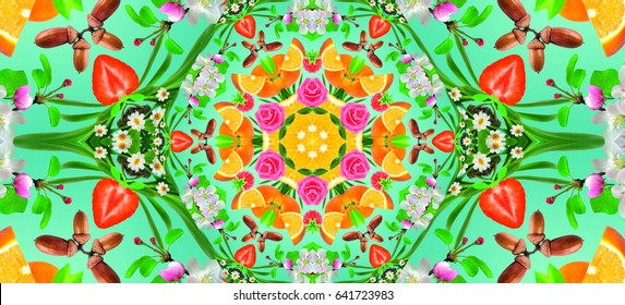 Modern Kaleidoscope Background Texture. Colorful Pattern Element for Decoration. Illustration with fruits and Flowers. Round