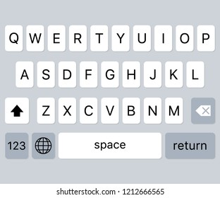 modern keyboard of smartphone, alphabet buttons.  stock illustration.