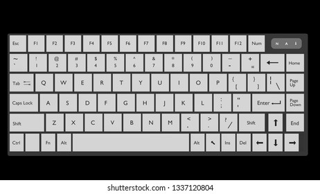 Modern keyboard with transparent background