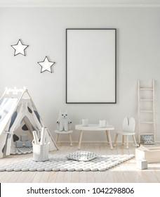 Modern kids interior, frame mockup 3d rendering