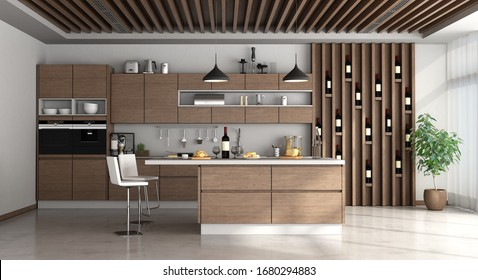 Modern kitchem with island, wooden beams and ventilation grilles - 3d rendering