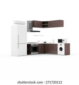 Interior moderno en 3D de cocina aislado de fondo blanco. Representación 3D