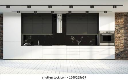 Modern Kitchen 3D Interior in LIght Tones. 3D Rendering