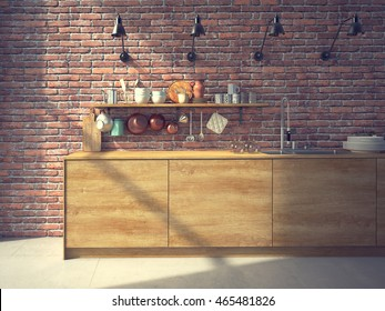 Modern kitchen with a brickwall. 3d rendering