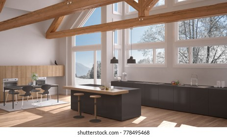 Modern kitchen in classic villa, loft, big panoramic windows on winter meadow, white and gray minimalist interior design, 3d illustration