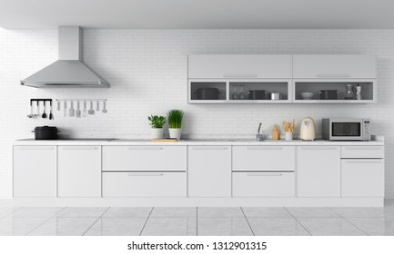 Modern kitchen countertop and electric induction stove for mockup, 3D rendering