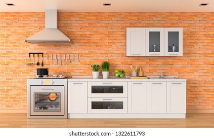 Modern kitchen countertop with gas stove and sink, 3D rendering