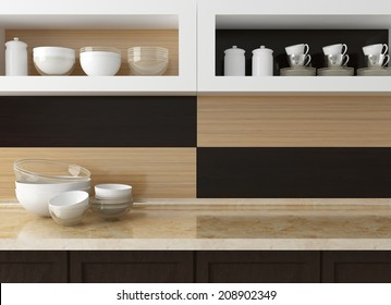 Modern kitchen design. Ceramic kitchenware on the marble worktop. Plates, cups on the shelf.