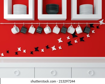 Modern kitchen design, white furniture and red wall. Ceramic kitchenware on the shelf. Butterfly decor on the wall.