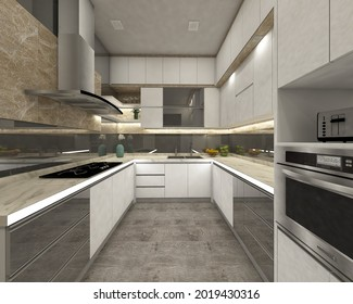 modern kitchen design with white minimalist cabinet and glass ornament. 3d rendering, 3d illustration.