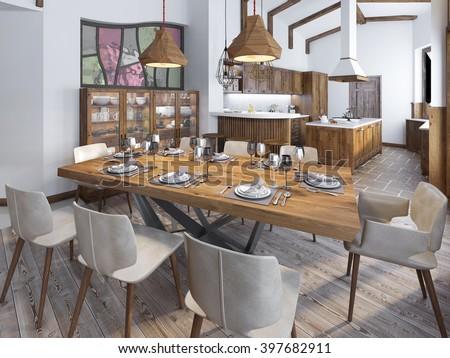 Modern Kitchen Dining Room Loft Cuisine Stock Illustration 397682911 ...