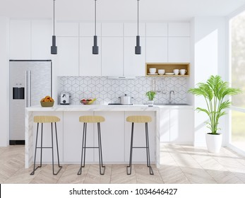 Modern kitchen and dinning room ,wood Stool with marble counter bar and modern furniture ,white pantry room .3d render