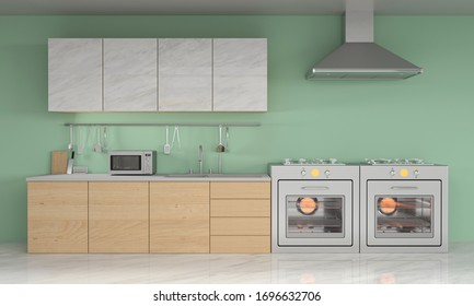 modern kitchen with green background 3d rendering