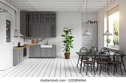 modern kitchen interior. 3d illustration concept