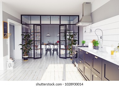 modern kitchen interior. 3d rendering concept