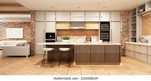 Modern kitchen interior. 3d rendering.