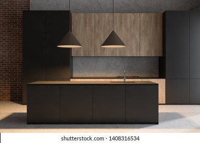 Modern kitchen interior with brick and stone walls, concrete floor, dark gray cupboards and wooden countertops with built in cooker and island with sink. 3d rendering